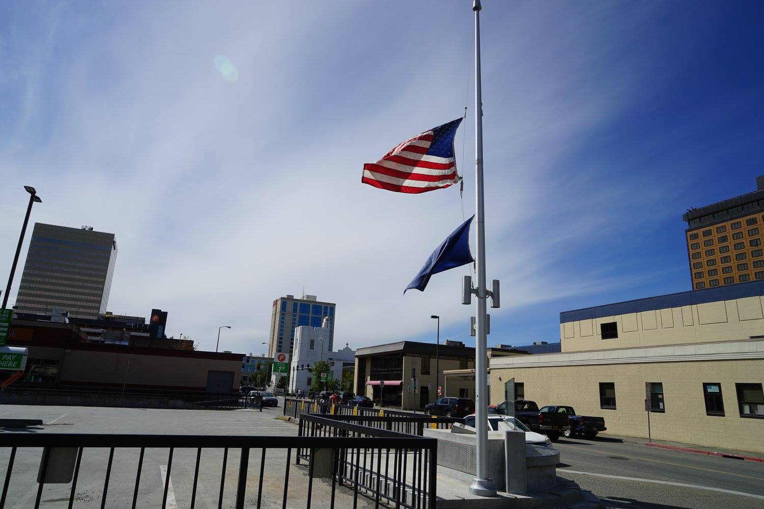 US flag at half-mast in Anchorage, Alaska, after the Orlando shooting. Photo taken days into the beginning of our journey.
