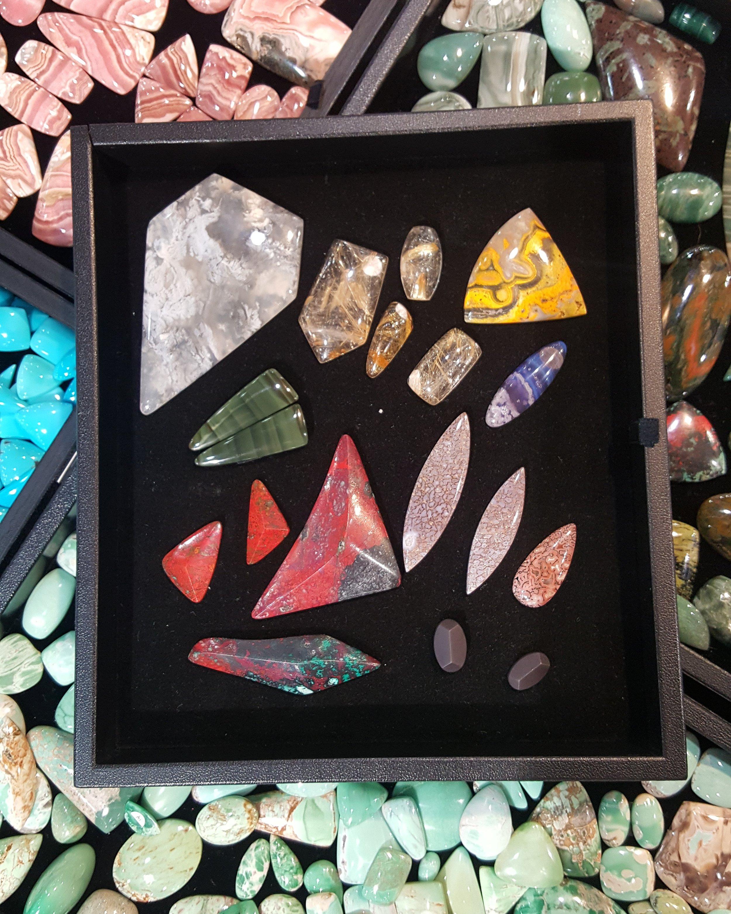 The last time I worked for Gary I came home with these! Sonoran Sunrise, Imperial Jasper, Leland Purple, Gembone (Dino Bone), Moss Agate, Bumblebee Jasper, and Rutilated Quartz