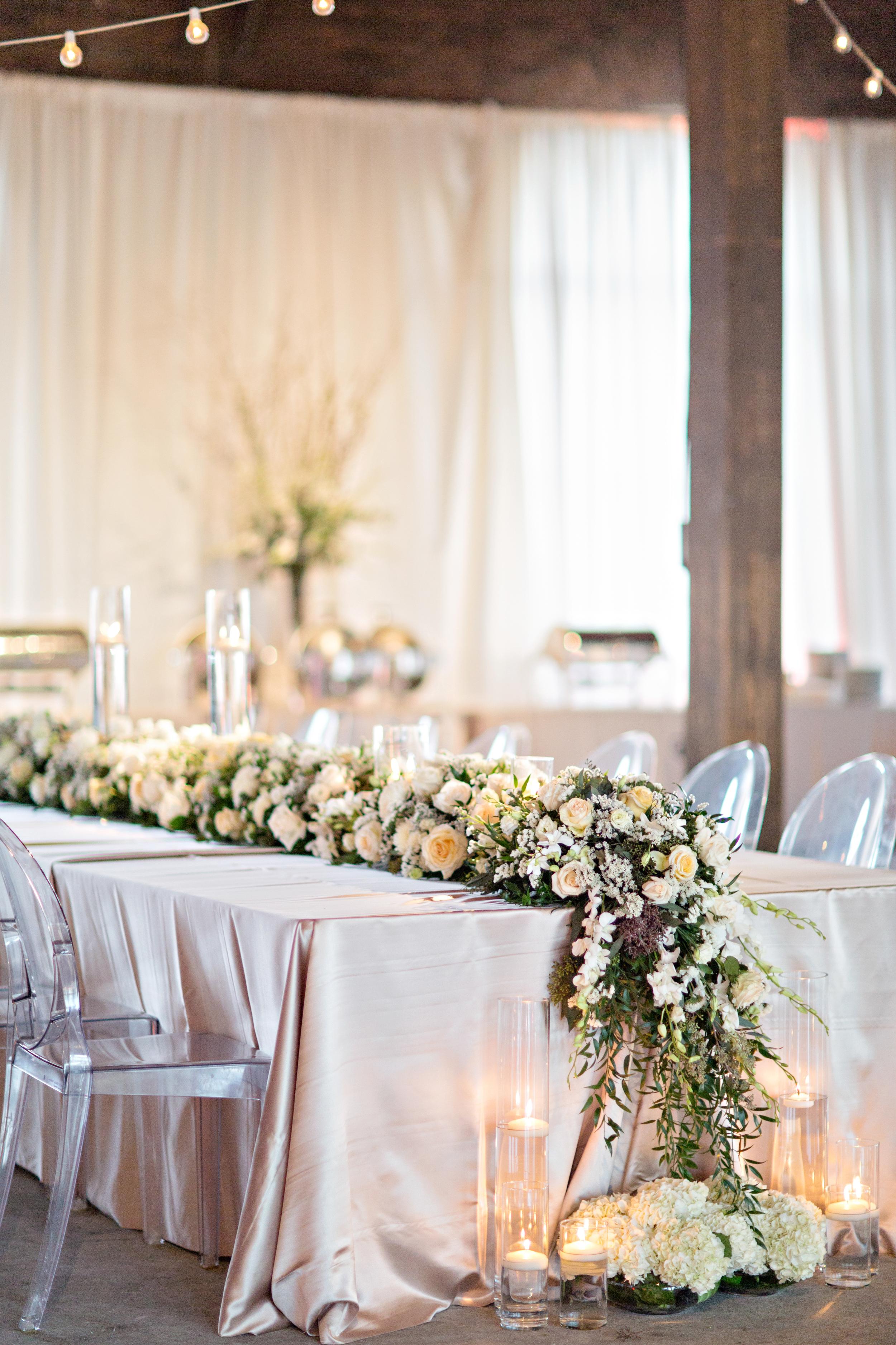 wedding-fineryboutique-finerydesign-finery-weddingcoordinators-weddingstylist-coordinator-eventplanner-reception-ghostchairs-weddingreception-tablescape-roundhousedepot-alabama-floral-swag-garland