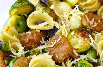 Pesto Pasta W/ Chicken Sausage & Roasted Brussels Sprouts