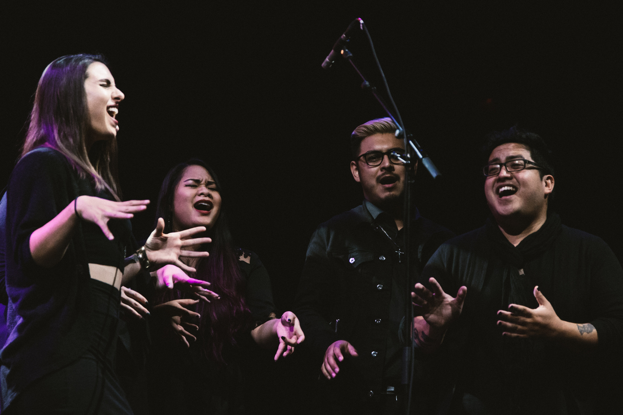 Top Shelf Vocal performs at the Belasco Theater at an event for the American Speech-Language-Hearing Foundation
