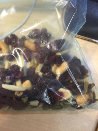 You HAVE to keep some healthy snacks on deck so that you won't succumb to your coworker's Snicker offerings.  This is a bag of mixed nuts, dried cranberries and raisins that I nibbled on practically everyday.