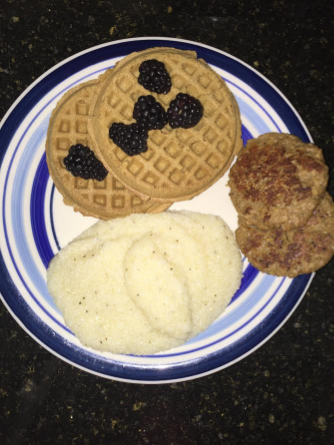During the second week I realized I could have grits! I added some veggie sausage, and waffles made with whole wheat, brown rice and some other stuff that was allowed.