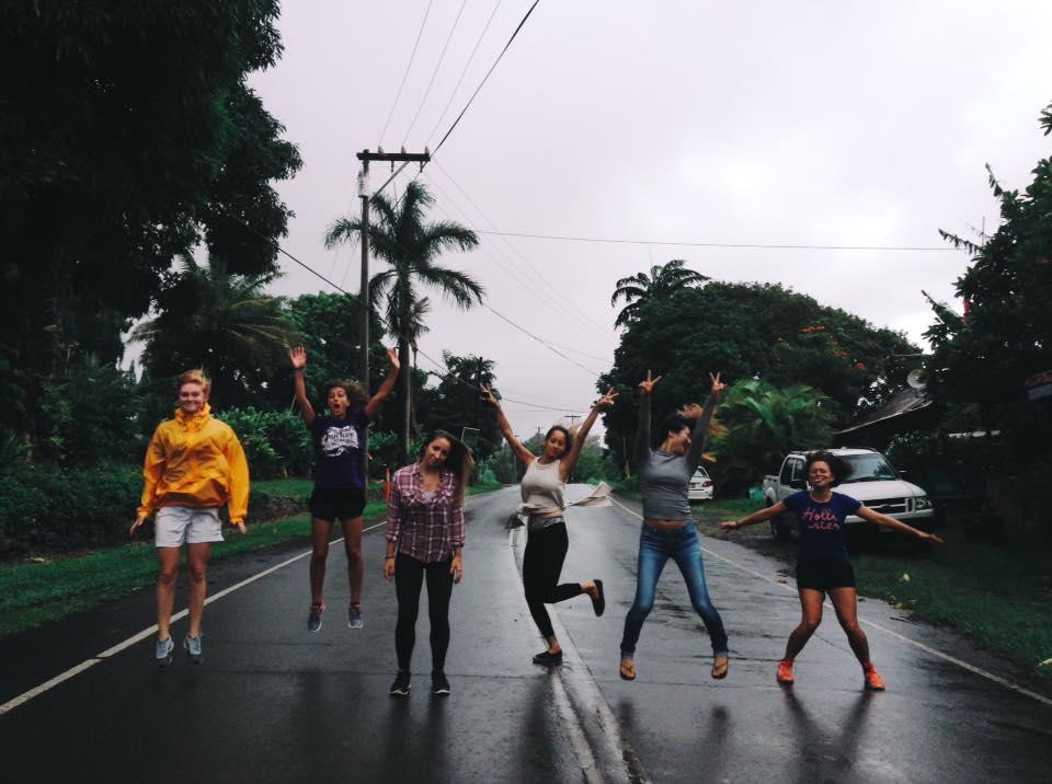 Goofing around in the rain