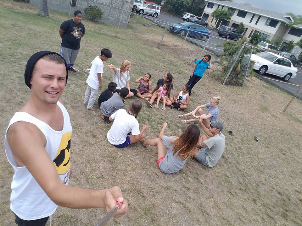 Hanging out with local kids