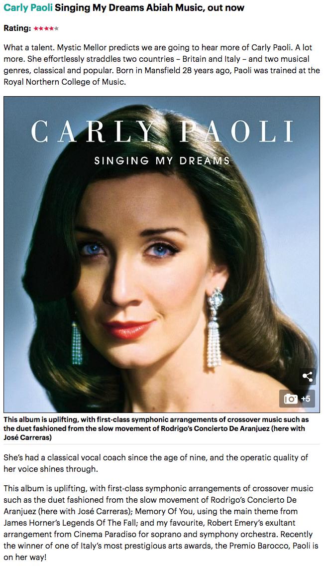 Carly Paoli Robert Emery Singing My Dreams David Mellor Review