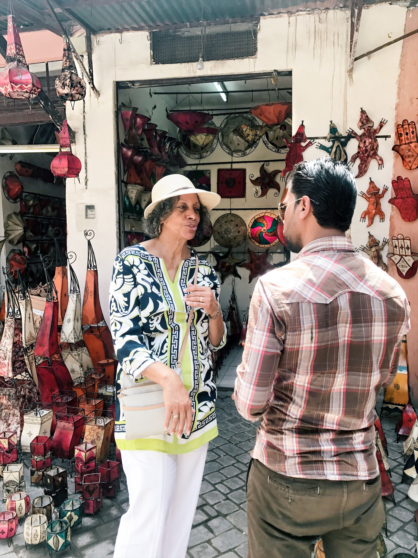 My Grandmother making friends in the Medina.