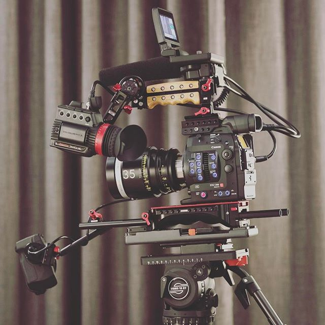 Our new rig is nearing its final form. #powerlevel9000 #austinfilm #c300mkii #schneideroptics #zacutoevf #austinmedia