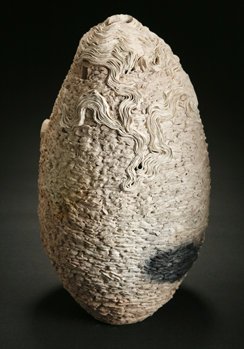 "White Tower in Mist   2007    clay, kiln- and pit-fired    17""h. x 9'""dia."