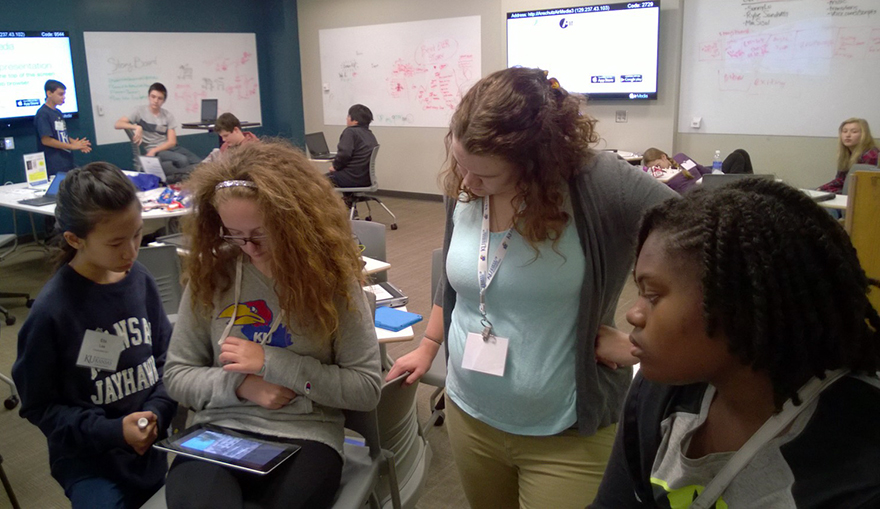 Middle-school students participated in the Duke TIP workshop.