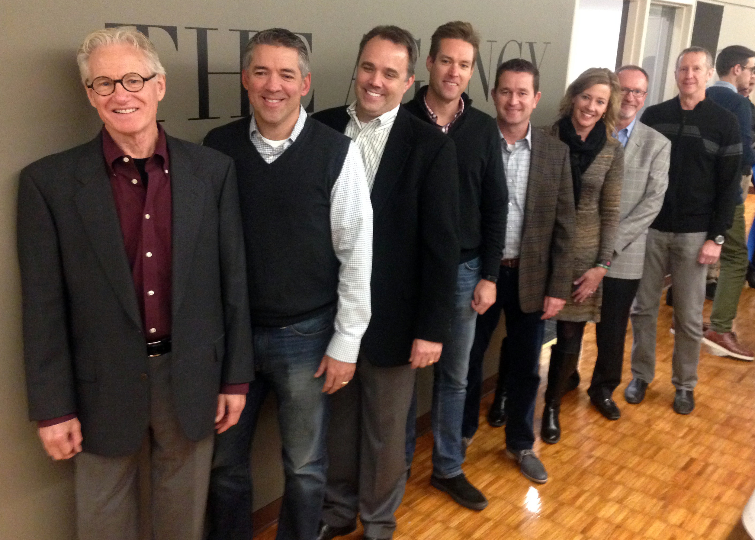 Founders of The Agency attended the ribbon cutting during J-School Generations. From left: Don Hunter; Phil Bressler and Jim Brown of Muller Bressler Brown; Jan-Eric Anderson of Callahan Creek; Jason Parks of Barkley; Ali Mahaffy and Rand Mikulecky of Sullivan Higdon & Sink; and Jim Chastain of Reality Check.