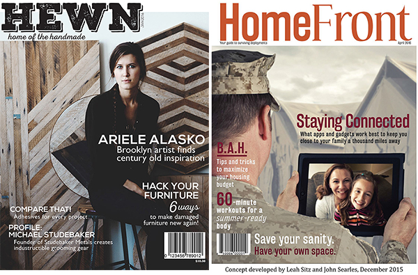 Hewn | Home of the Handmade (left) and HomeFront | Your Guide to Surviving Deployments (right).
