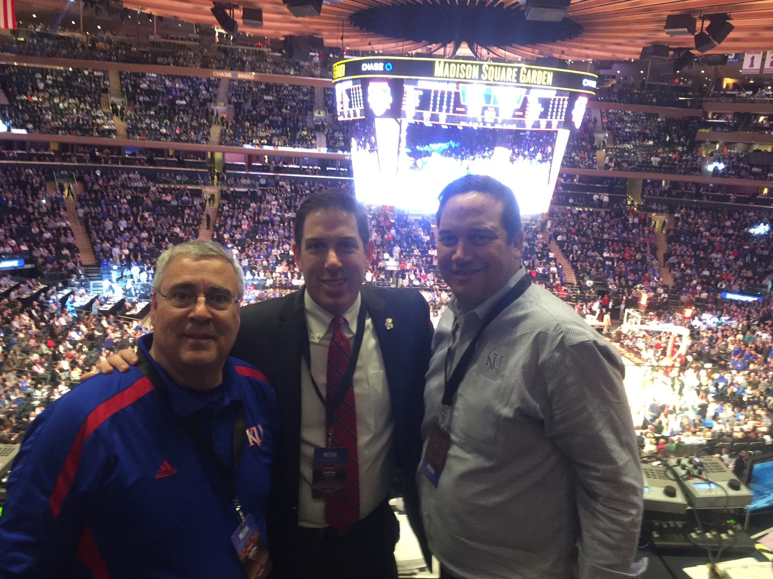 From left: Bob Newton, producer/engineer of Jayhawk Radio Network, Brian Hanni and Greg Gurley, men's basketball color analyst for Jayhawk Radio Network and former KU basketball guard 1992-95) posed for a photo before the 2016 Champions Classic at Madison Square Garden in New York.