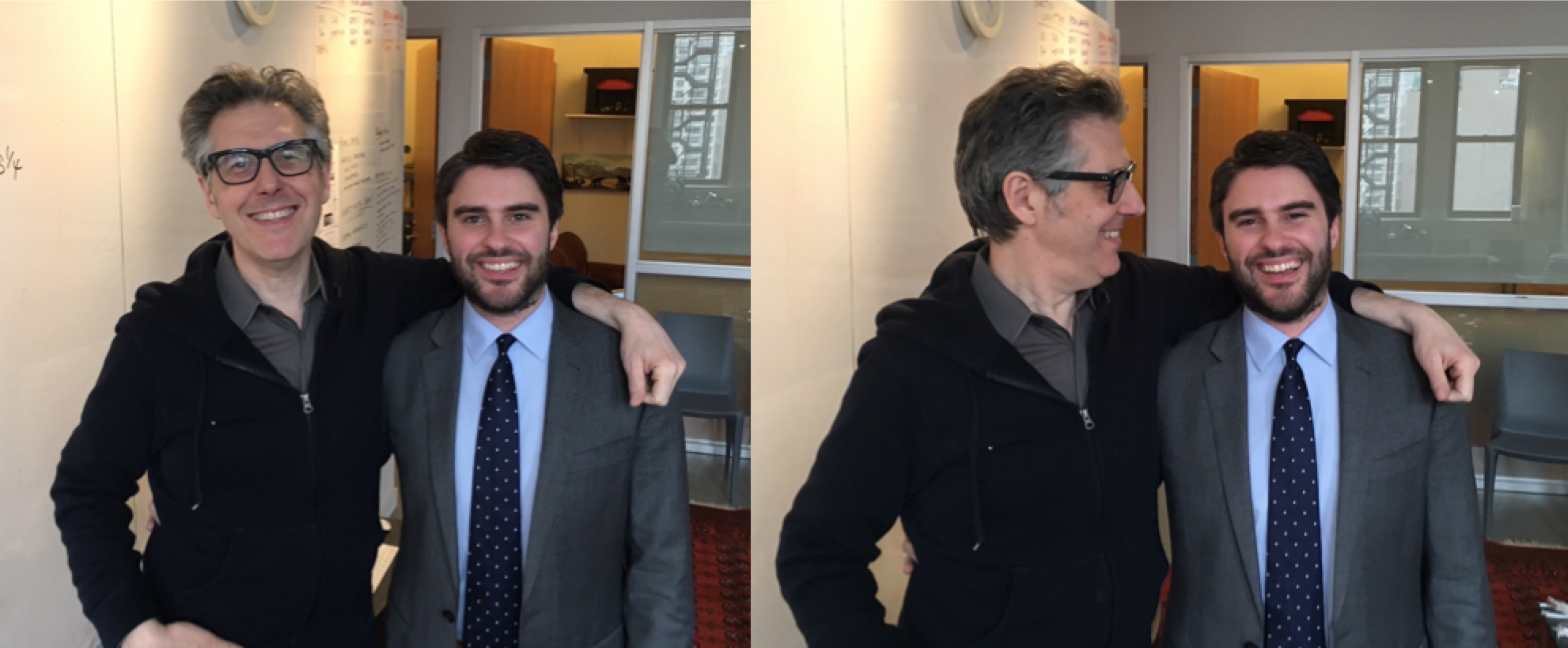 """Assistant Professor Jonathan Peters (right) met Ira Glass, host """"This American Life"""" while he was in New York City earlier this year giving the show's staff a training session on media law."""