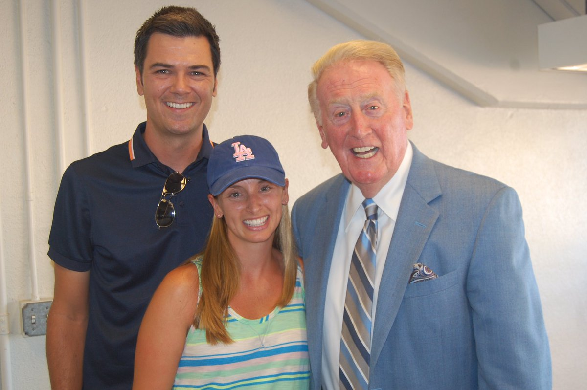 Sieman and his wife, Amy, are pictured with Vin Scully, longtime announcer for the Los Angeles Dodgers.