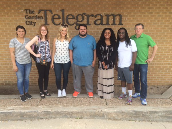 Seven students spent a week in Garden City reporting about health-care issues for Journalism 691: Community Journalism. The students are (from left) Aleah Milliner, Riley Mortensen, Kirsten Peterson, Ben Felderstein, Candice Townsend, Jourdaine Smallwood, and Media Crossroads Director Cal Butcher. (Not pictured: Max Rothman).