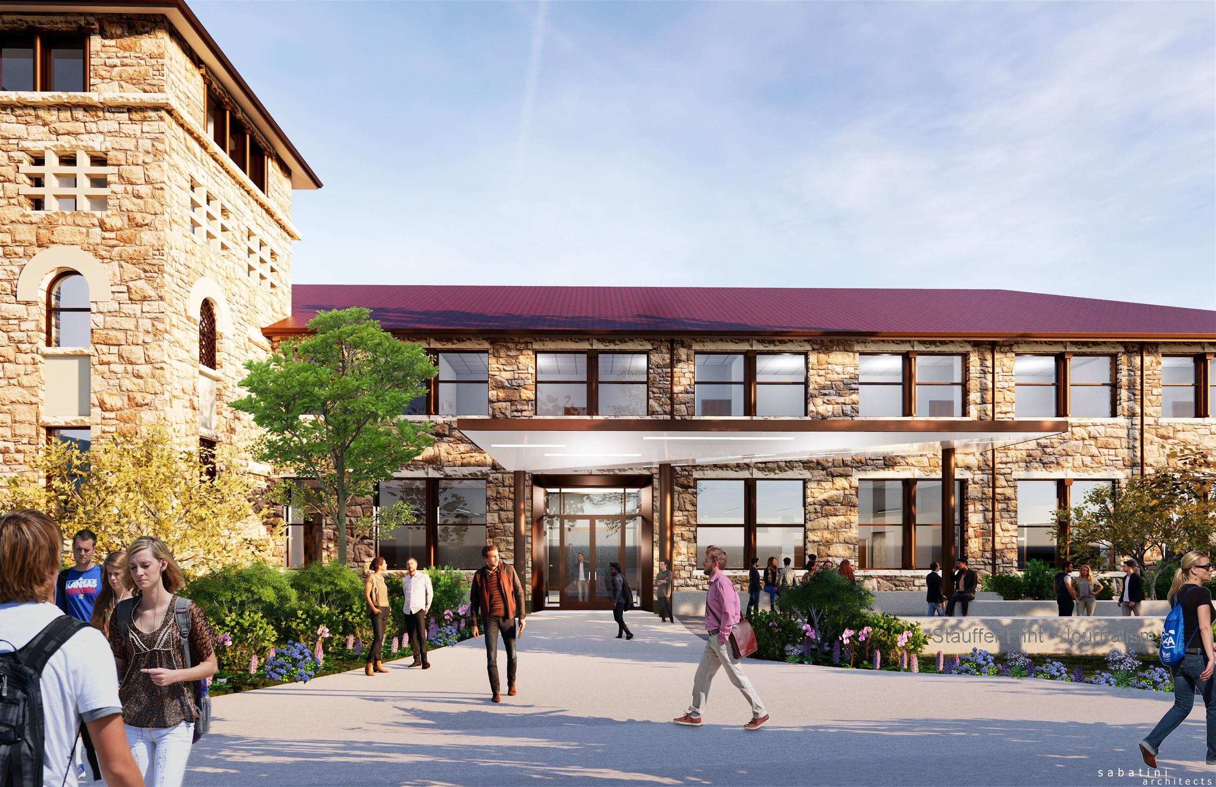 A new front door for Stauffer-Flint Hall and plaza facing Jayhawk Boulevard will be unveiled in spring 2020.