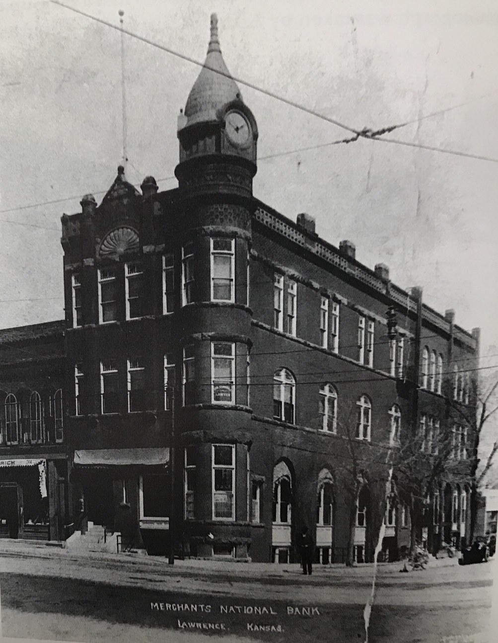 Merchants Bank first formed in 1877 and became a national bank in 1886. In 1930, it became the First National Bank of Lawrence. (Photo courtesy of Spencer Research Library, Pictorial History of Lawrence, Douglas County, Kansas. Taken about 1915.)
