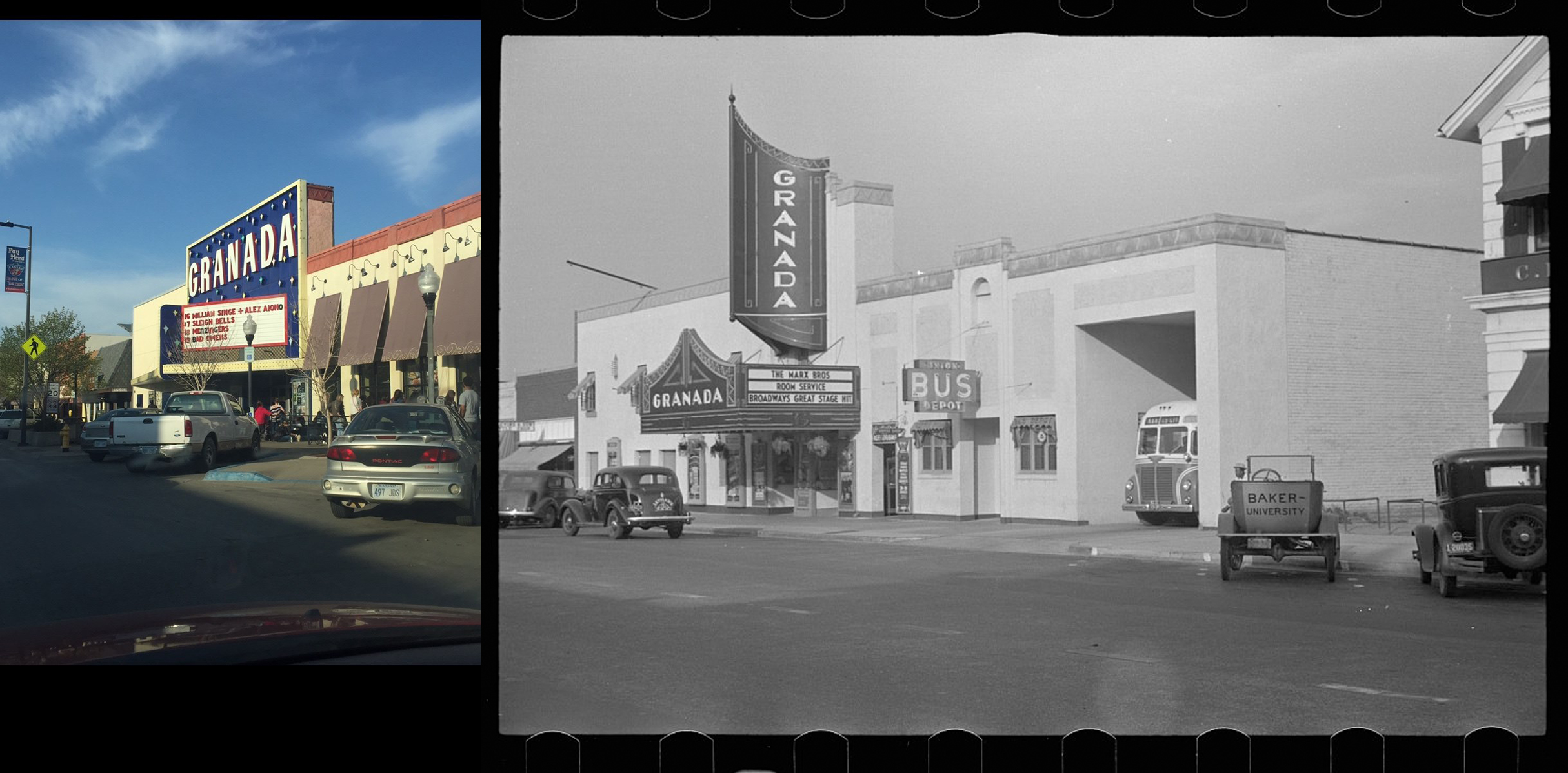 The Granada was a theater that showed films from the 1930s until the late 1990s. Now, it is a live venue for shows and concerts. (Photo credit: Hannah Cruise and Farm Security Administration — Office of War Information Photograph Collection from Library of Congress)