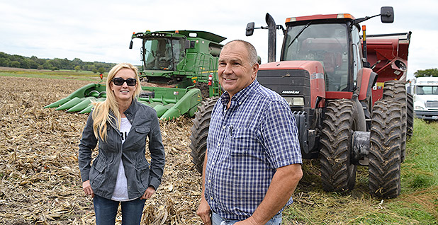 Carey Gillam met with long- time corn and wheat farmer Mark Nelson in August 2018 to discuss harvest results at one of Nelson's fields in Spring Hill, Kansas.