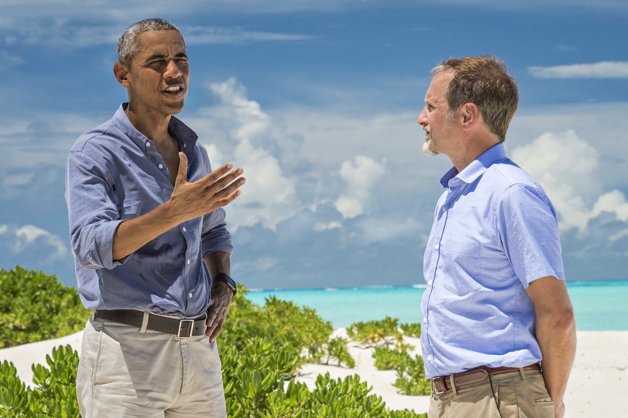 Welch interviewed Barack Obama on Midway Island in September 2016 shortly after the president expanded an existing marine reserve in the Pacific Ocean. (Photo by Brian Skerry, National Geographic)
