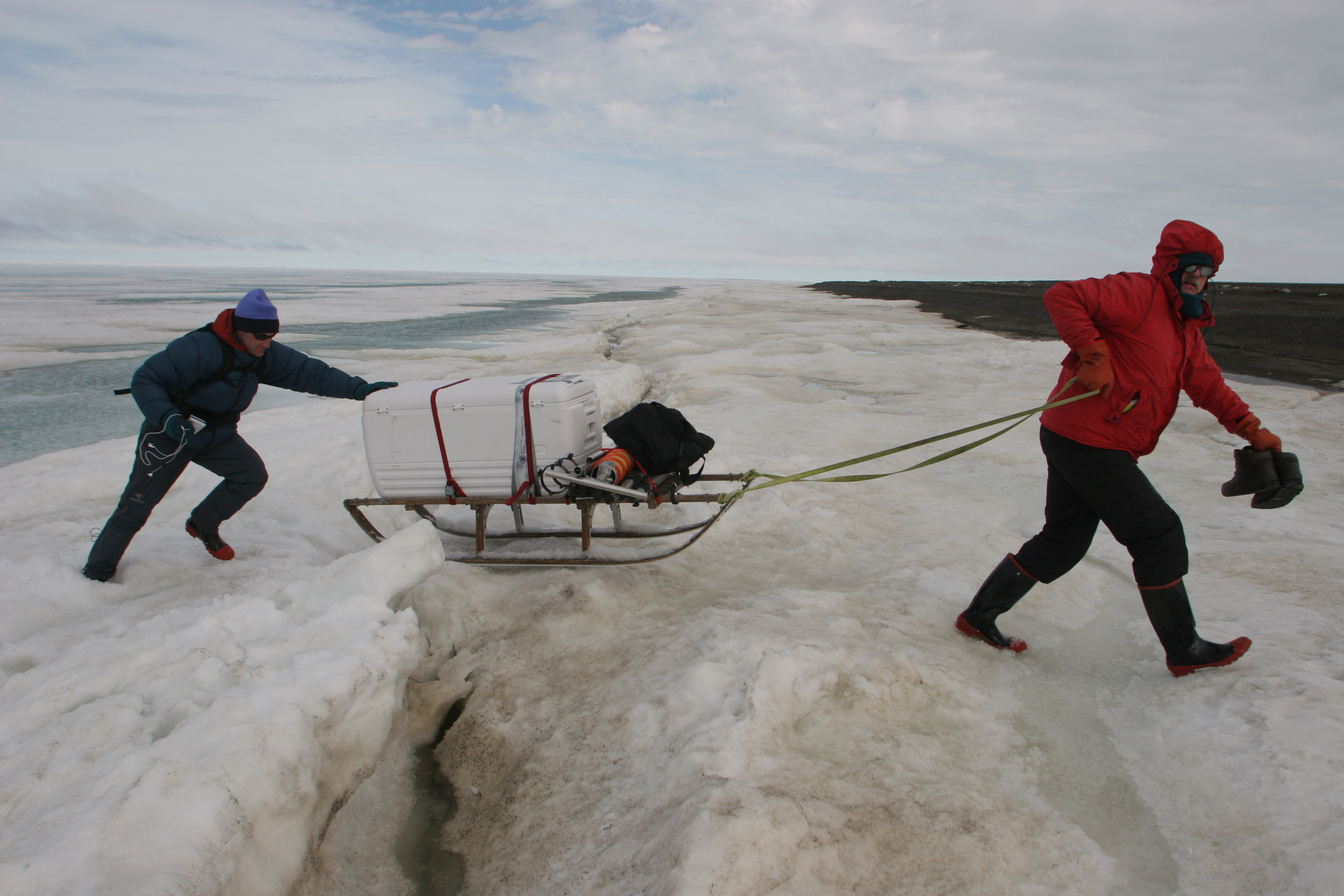 When working in extreme environments, like the Arctic, sometimes journalists have to pitch in. Here, Craig Welch helps a University of Washington climate researcher get his instruments over cracks in Arctic sea ice. PHOTO CREDIT: Steve Ringman
