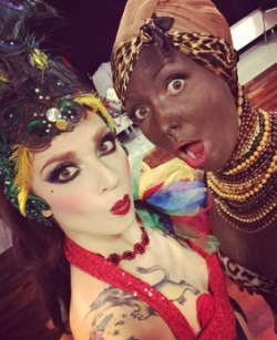 "Burlesque performers in Munich. Two performers, Miss Powder Puffy and  Stormy Heather (not pictured), known as  the ""Tittianas,"" have an act which includes white performers in blackface."