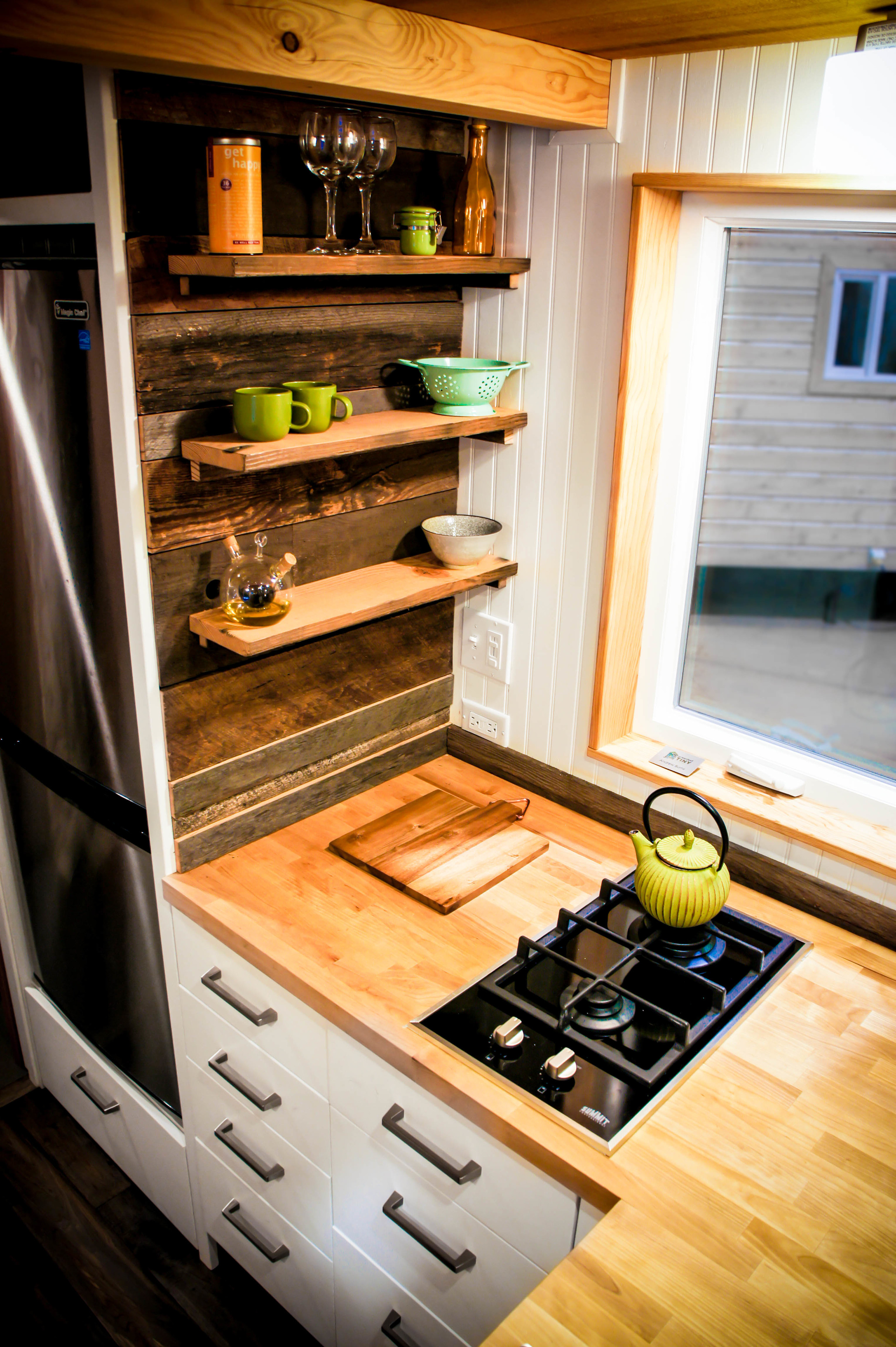 tiny home kitchen and storage