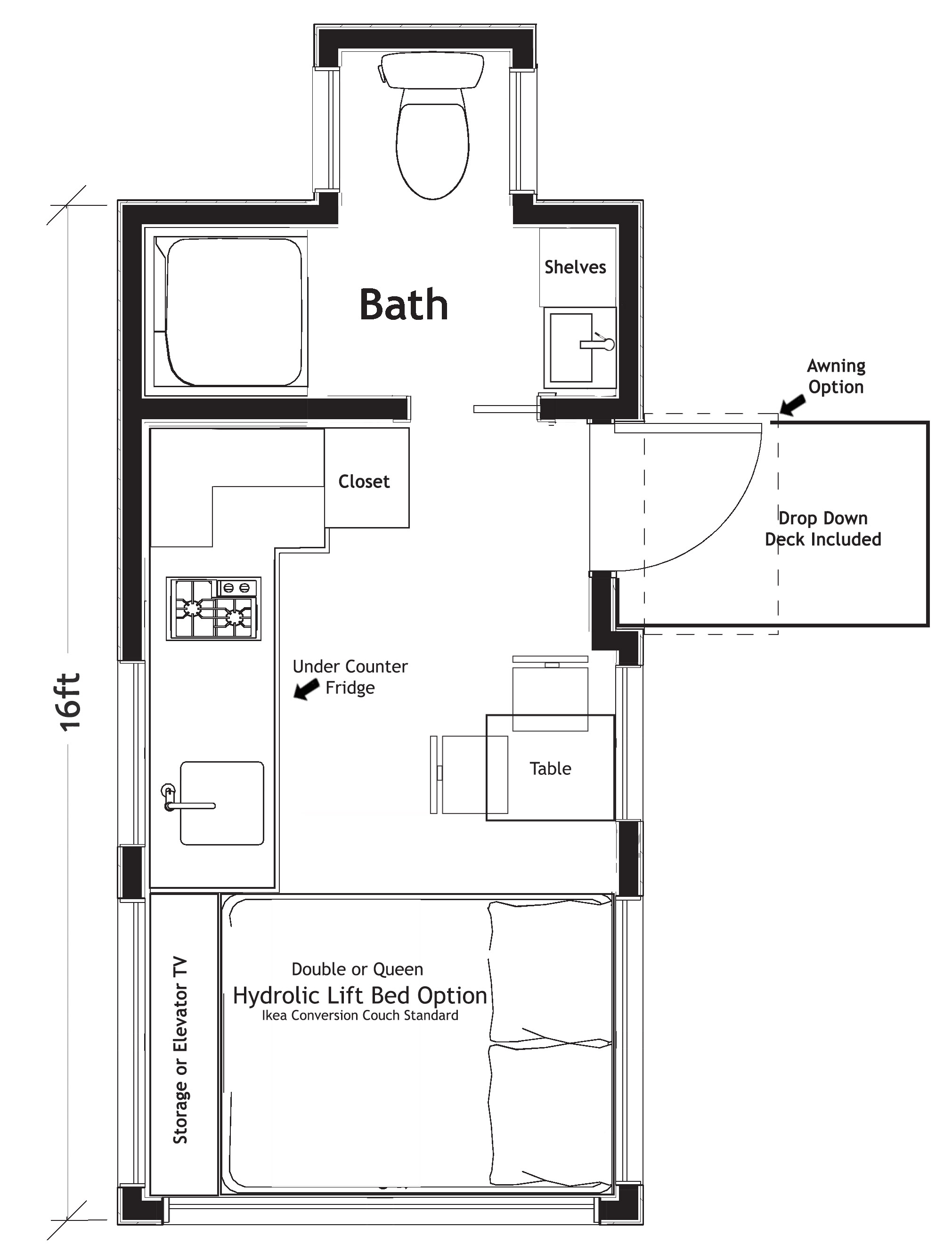 tiny home floor plan with bathtub