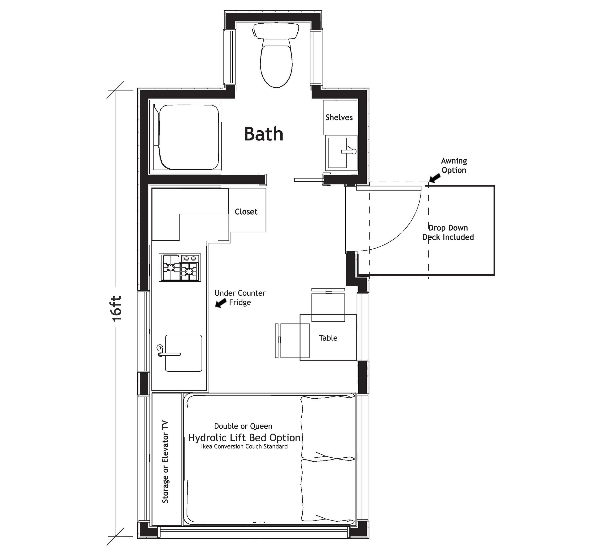 Example Floorplan:  16'   VERVE LUX