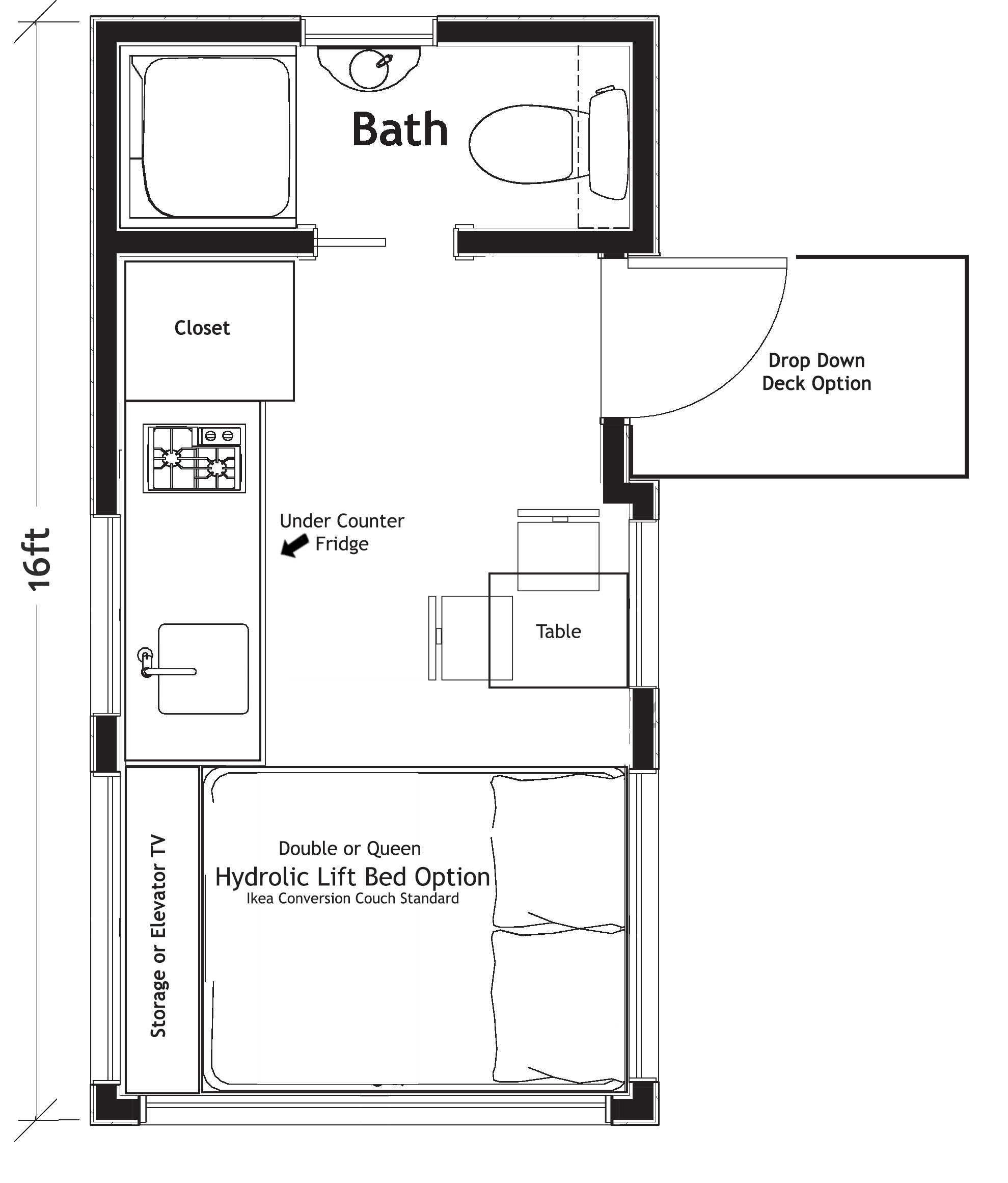 Verve 16 ft Floor Plan   Starts at $45,900