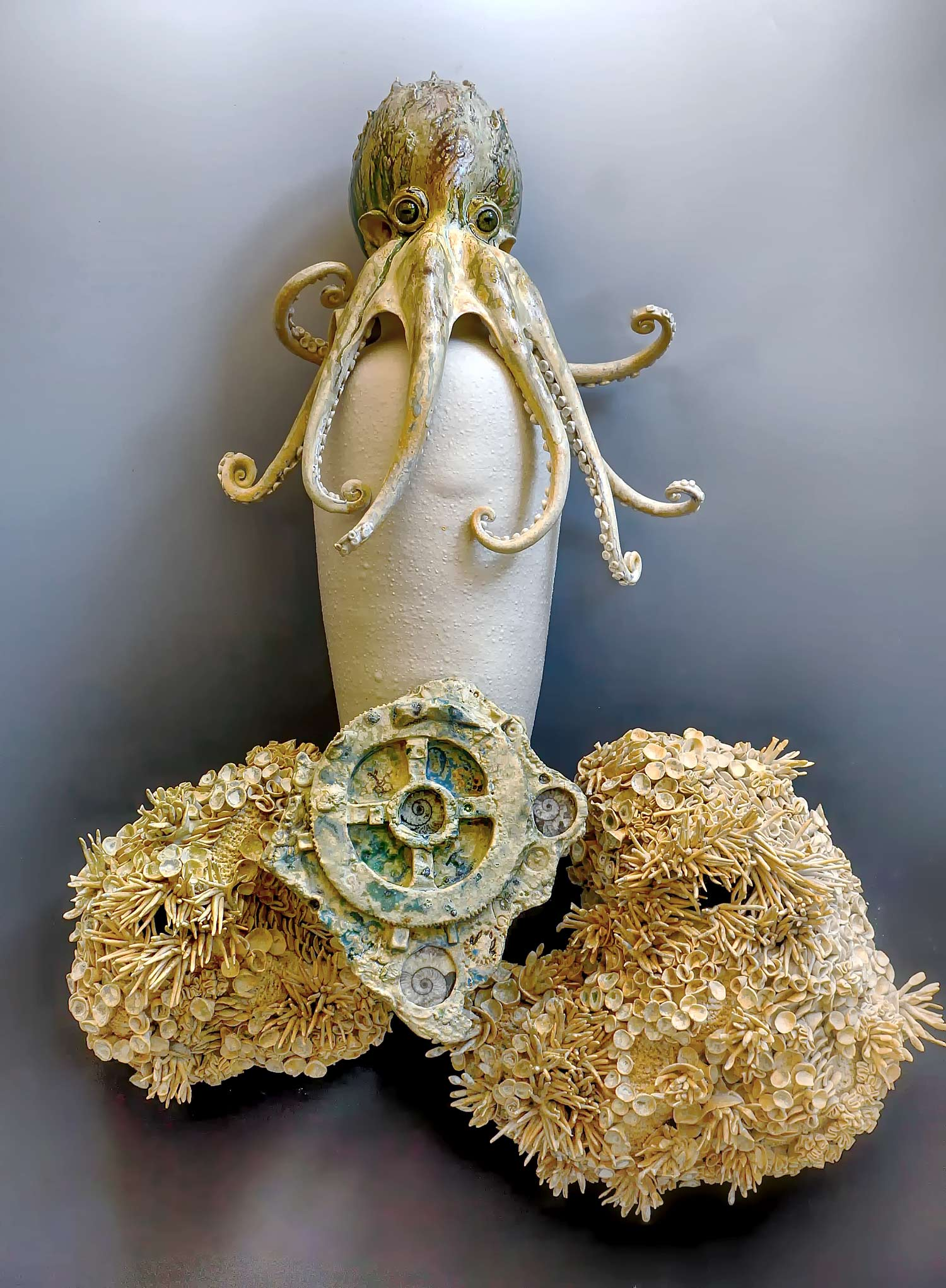 Wall hanging Octo - Amphora with Ammonite Embedded Antikythera Mechanism. 28 inches tall.