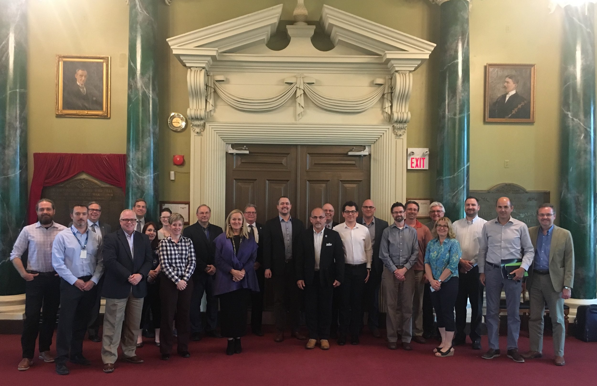Participants at the Eastern Ontario Municipal Data Roundtable, hosted by the WCCD and the City of Kingston, at the Kingston City Hall on May 24th 2018.