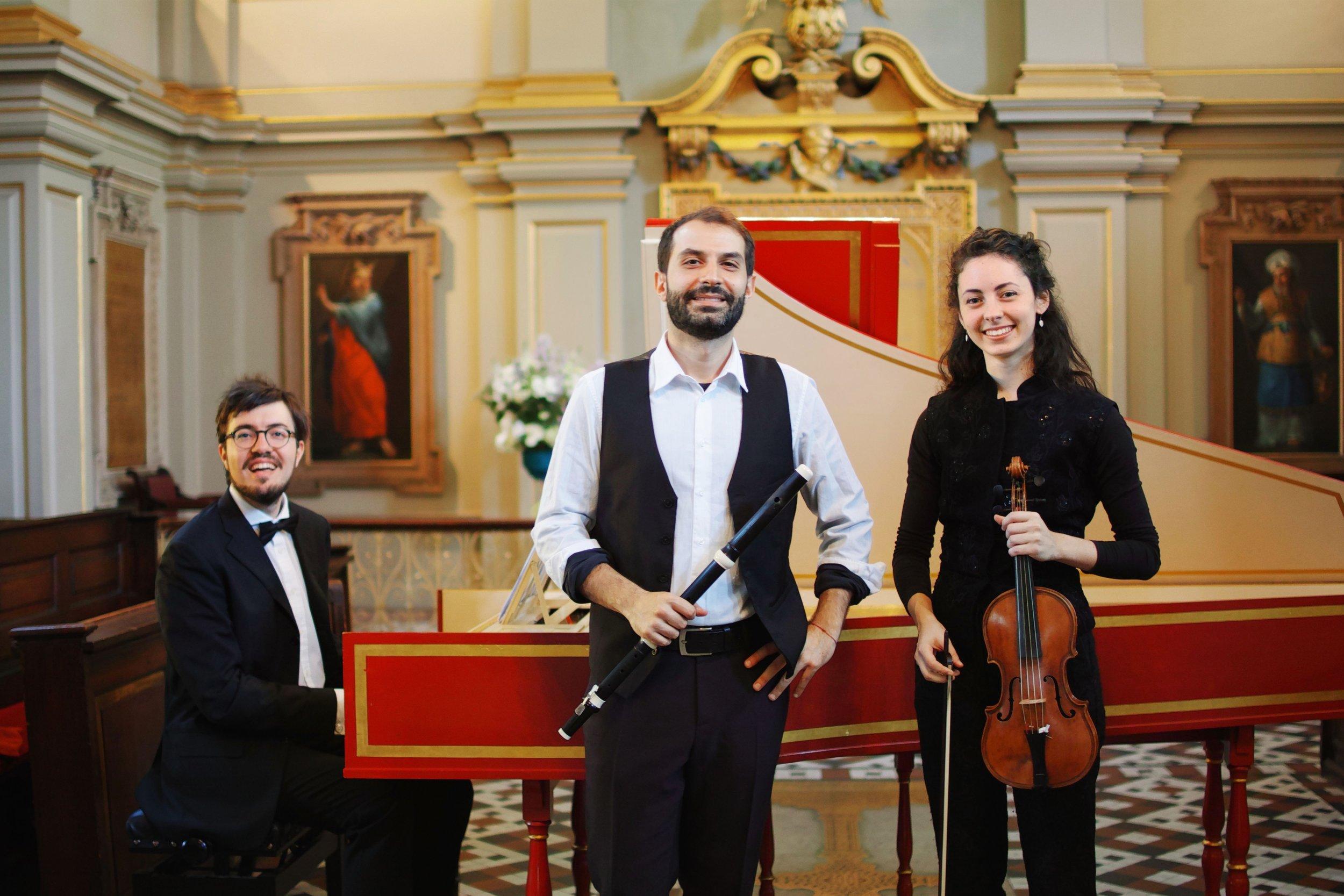 With Lorenzo Gabriele (traverso) and Rebecca Raimondi (baroque violin)