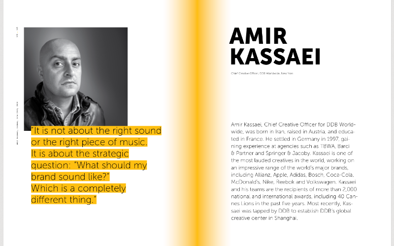 Amir Kassaei, DDB Worldwide, on sound branding, audio branding, music in advertising, sound identity, sonic identity, creative industry