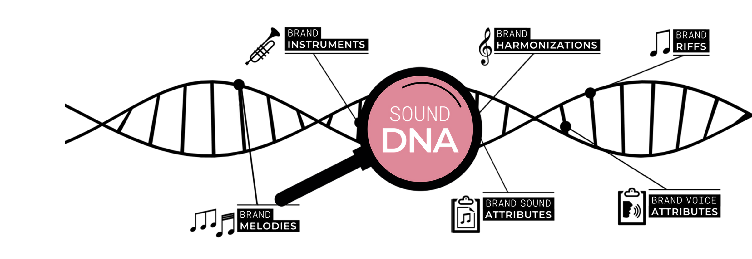 """from the sound dna... - Sound DNA:a unique piece of music (""""core track"""") containing all musical ingredients which make the brand audible and recognizable. The Sound DNA is the cornerstone of a flexible Sound Identity. Each element of the Sound Identity contains some ingredients taken from the Sound DNA."""