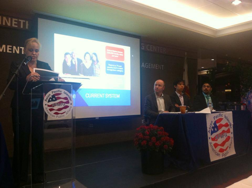 Charlotte Danielsson at Immigration Reform event with panelists including Sergio Garcia, first undocumented attorney admitted to practice law in California