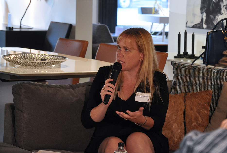Charlotte Danielsson speaking at an event on Women in Technology