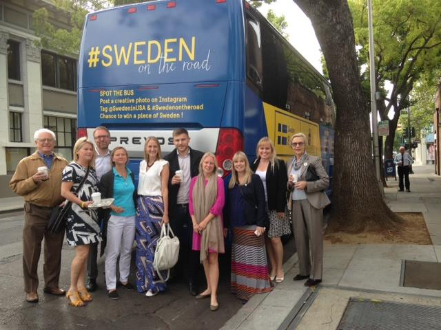 Charlotte Danielsson with Swedish Consul General Barbro Osher, Swedish Ambassador Bjorn Lyrvall, and members of the Swedish Embassy during the Sweden on the Road visit to Northern California