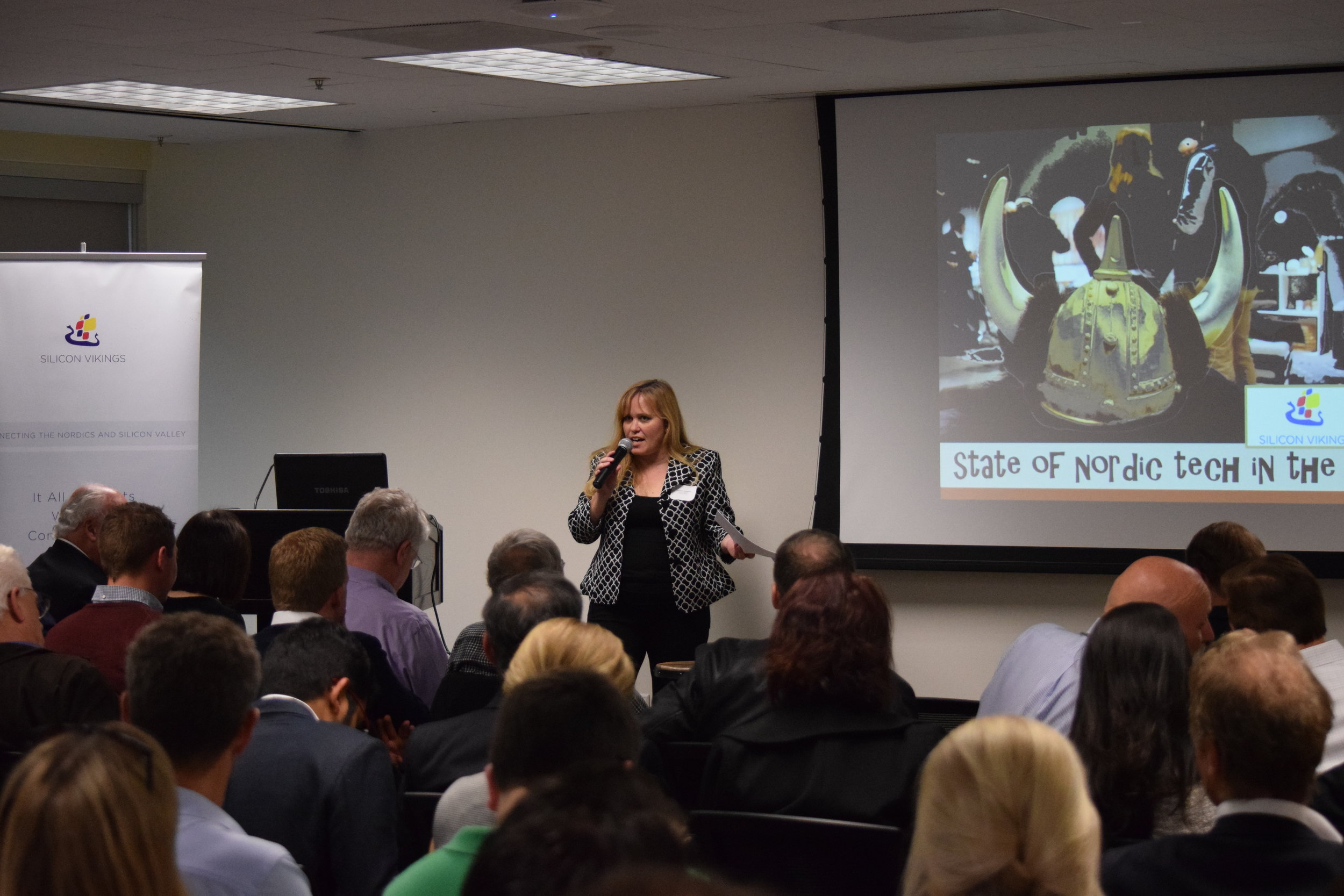 Charlotte Danielsson speaking at the 'State of Nordic Tech in the Bay' event she organized in 2016 bringing together Nordic Consuls, Trade Organizations, Venture Capitalists, Leading Nordic Companies such as Ericsson, Nokia & Spotify, and numerous Nordic Startups operating in the Bay Area