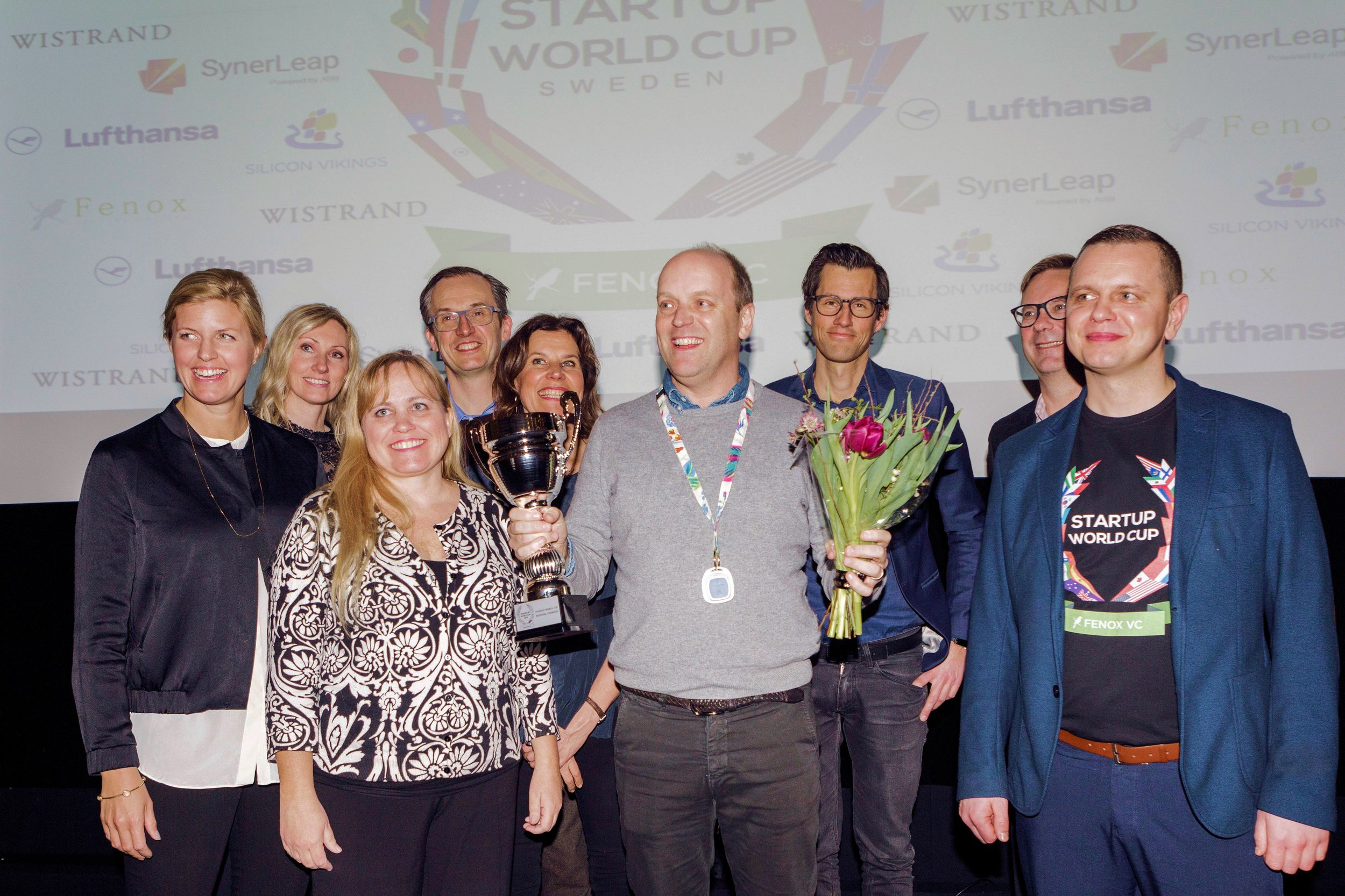 Charlotte Danielsson pictured here with the winner of the Swedish national final of the Silicon Vikings Startup World Cup Competition that she organized