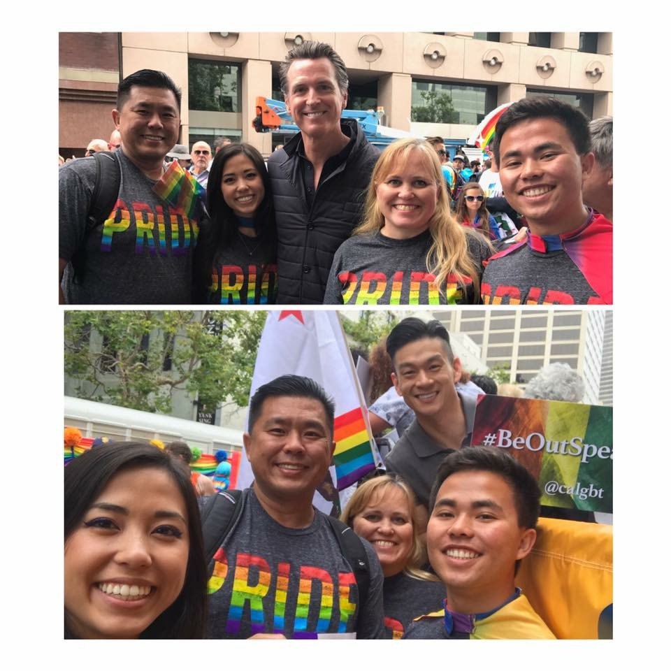 Charlotte Danielsson with her family at the SF Pride parade with CA Lieutenant Governor (now Governor) Gavin Newsom and CA Assemblymember Evan Low before they all marched in the parade