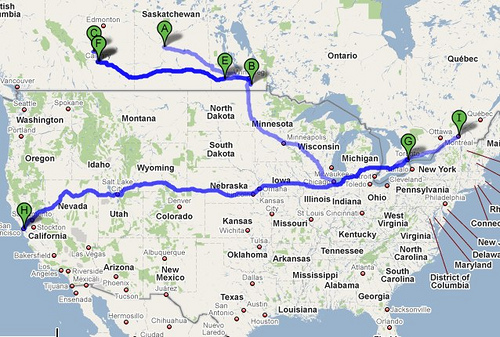 Places I've Lived...or my migration route.