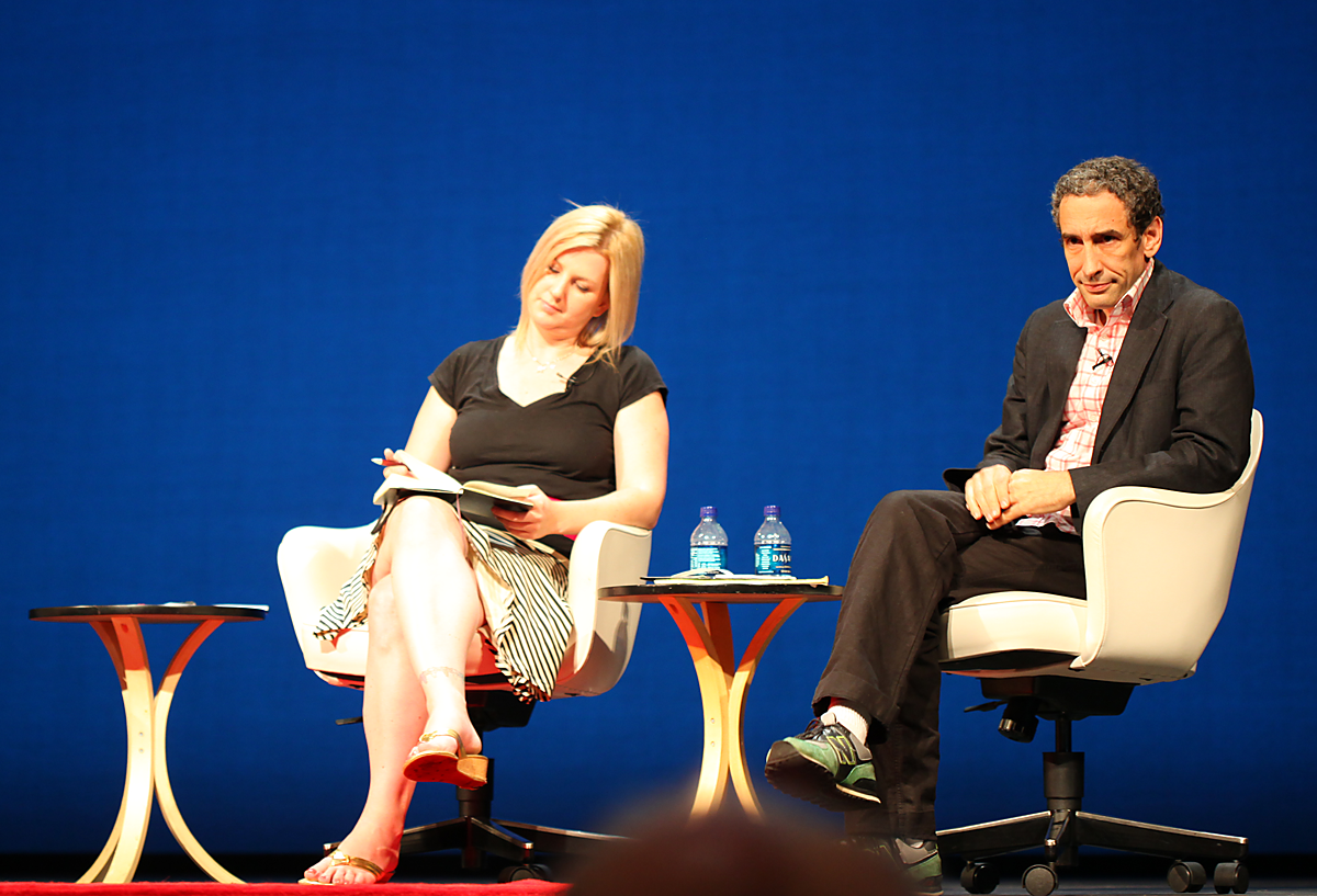 Tara and Douglas Rushkoff in conversation at Personal Democracy Forum in New York, USA.