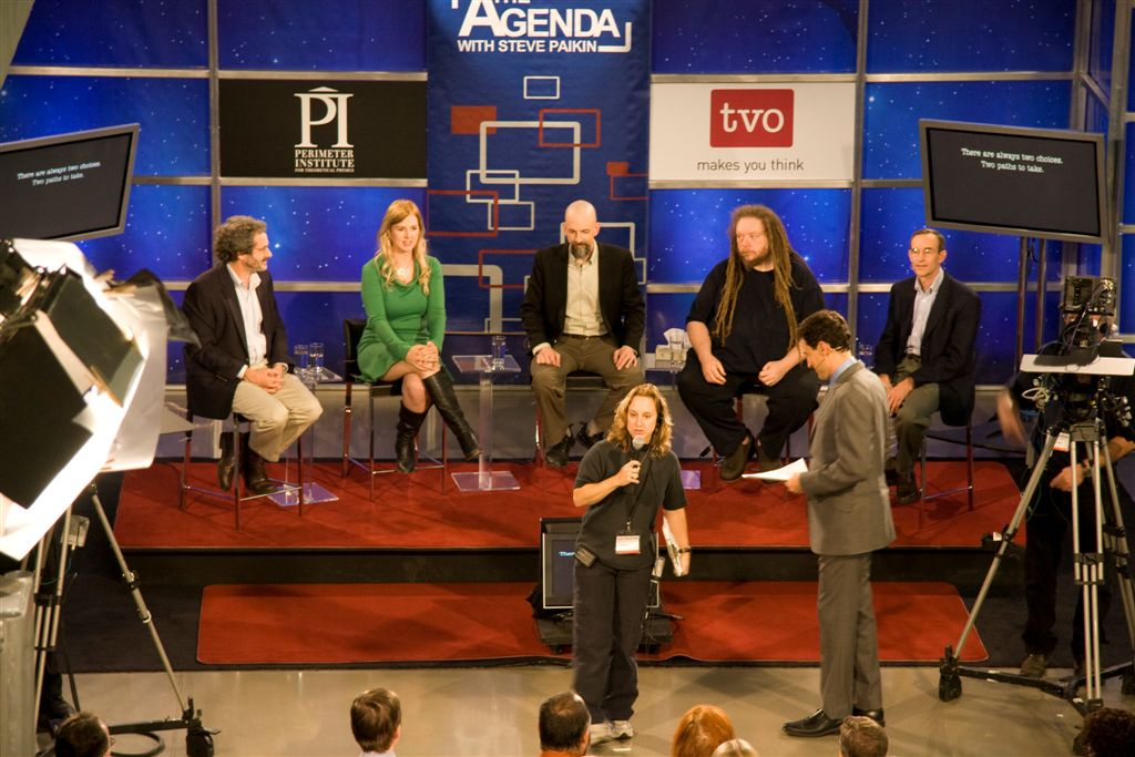 Tara speaking on a panel with Jaron Lanier and Neal Stephenson (live on The Agenda with Steve Paikin) at the Perimeter Institute, Waterloo, Canada.