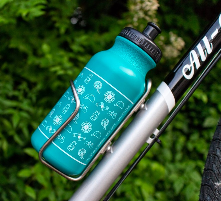 Water bottle mounted on bike