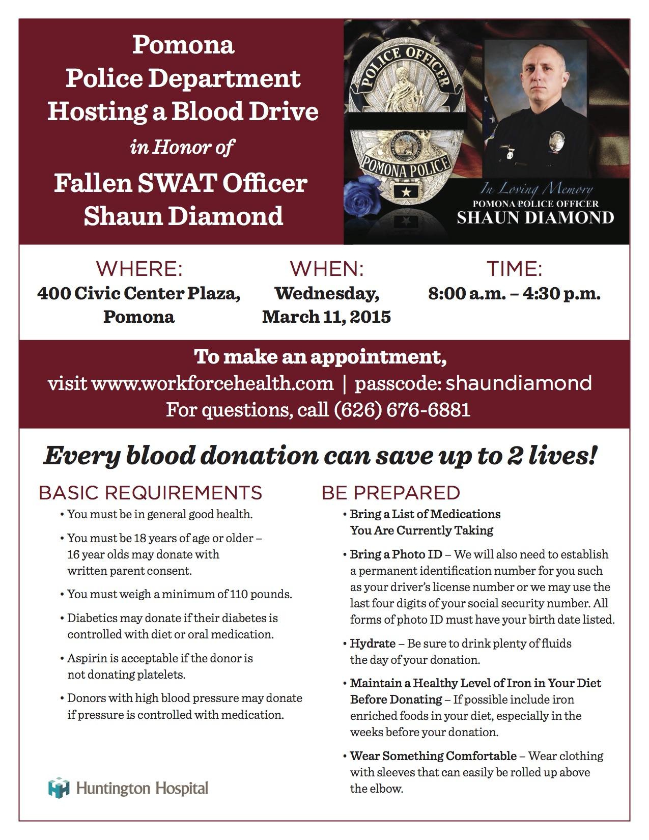 Blood Donor Flyer - Shaun Diamond Jan  2015