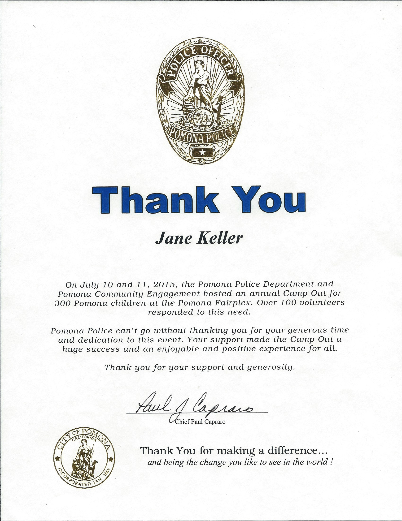 PD Campout thank you Jane