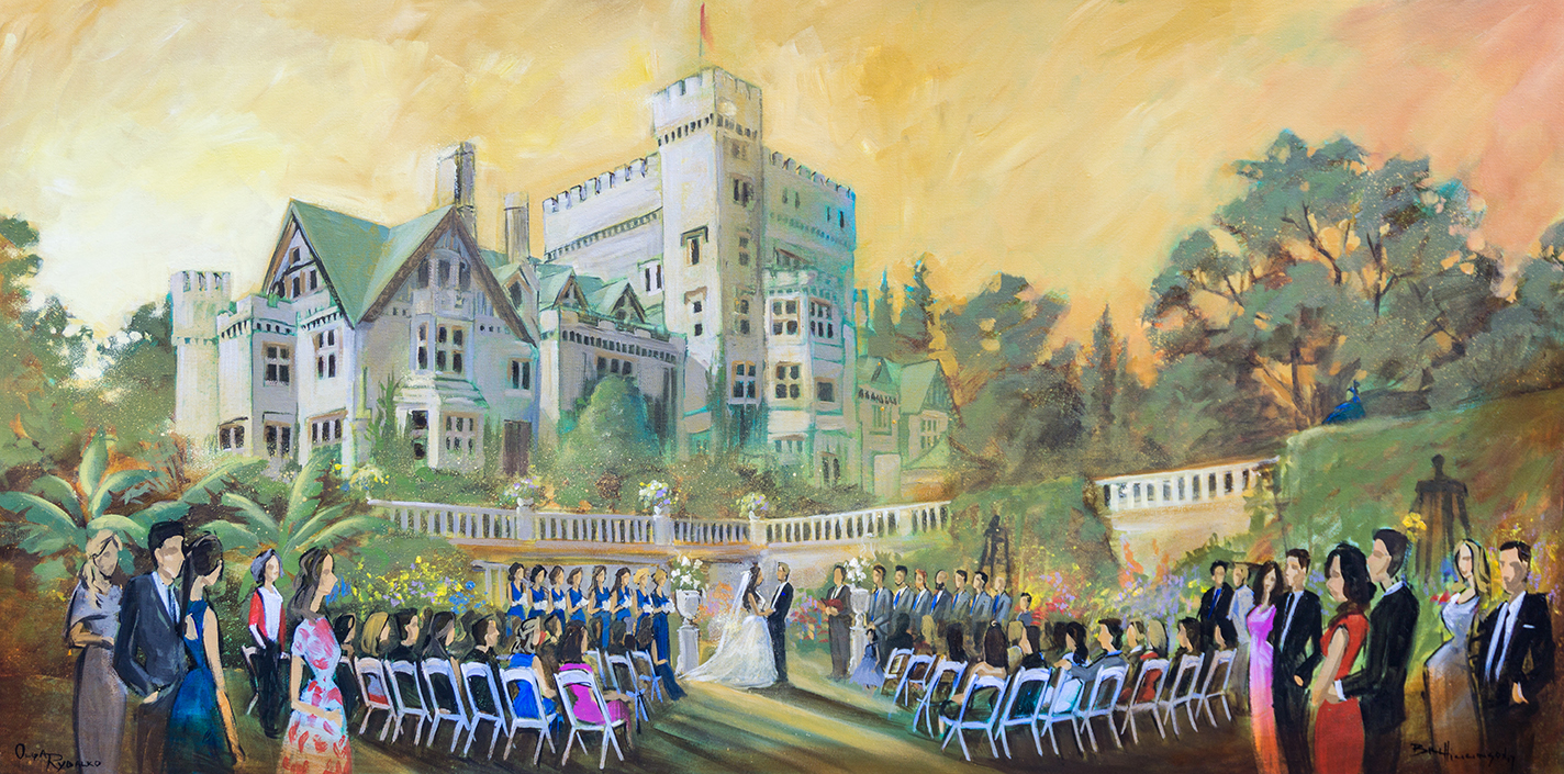 Live wedding painting at hatley castle, victoria BC reception