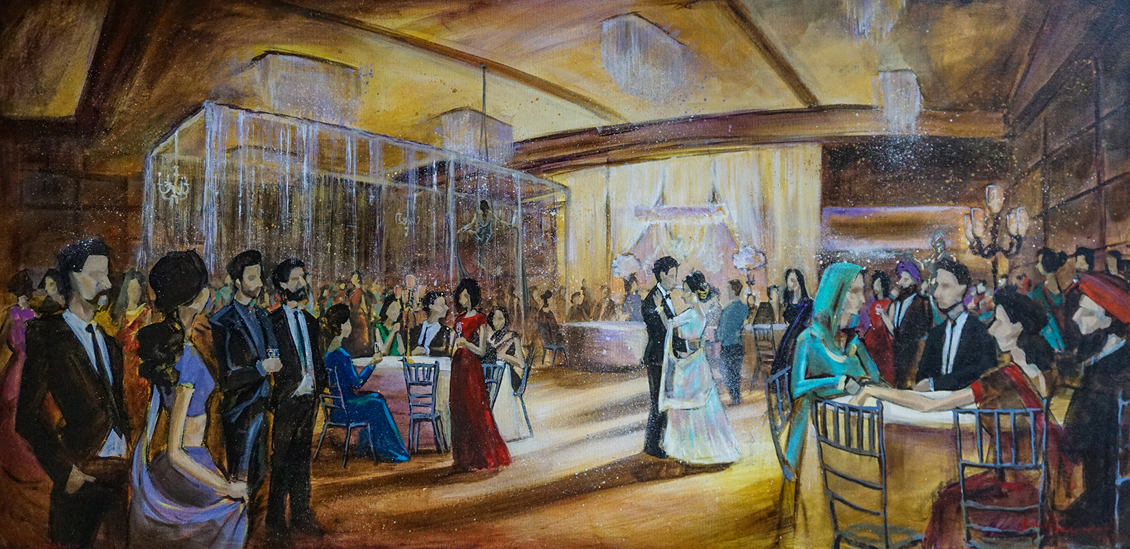 wedding at aria banquet hall vancouver live painting indian wedding